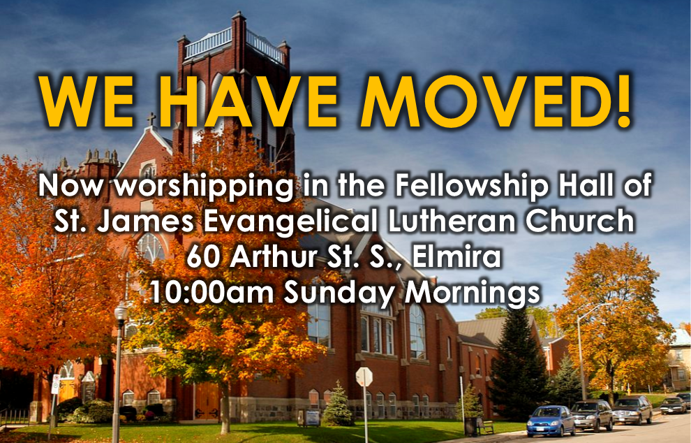 Hope Fellowship has moved to the Fellowship Hall of St. James Evangelical Lutherran Church in Elmira, ON